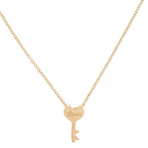 Gold-Tone Key Charm Necklace,