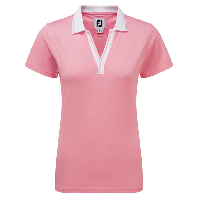Women's Stretch Pique Open V-Neck