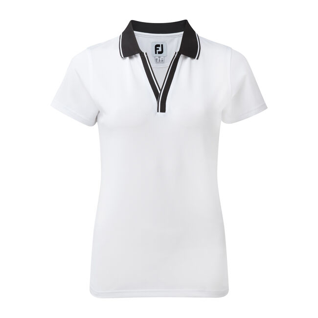 Stretch Pique Open V-Neck Dam
