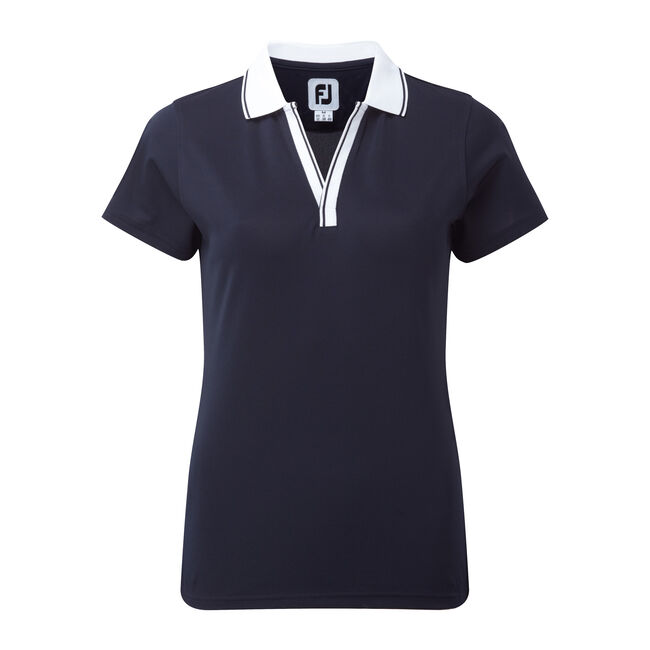 Stretch Pique Open V-Neck Women's