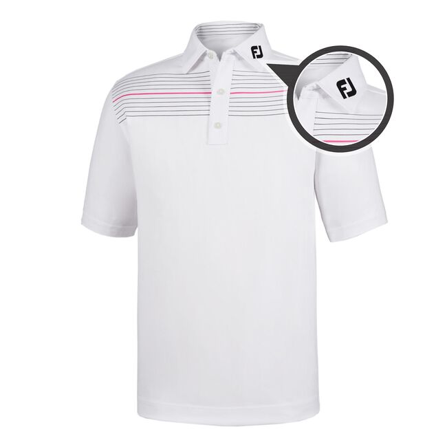 Athletic Fit Lisle Pinstripe Self Collar - FJ Tour Logo