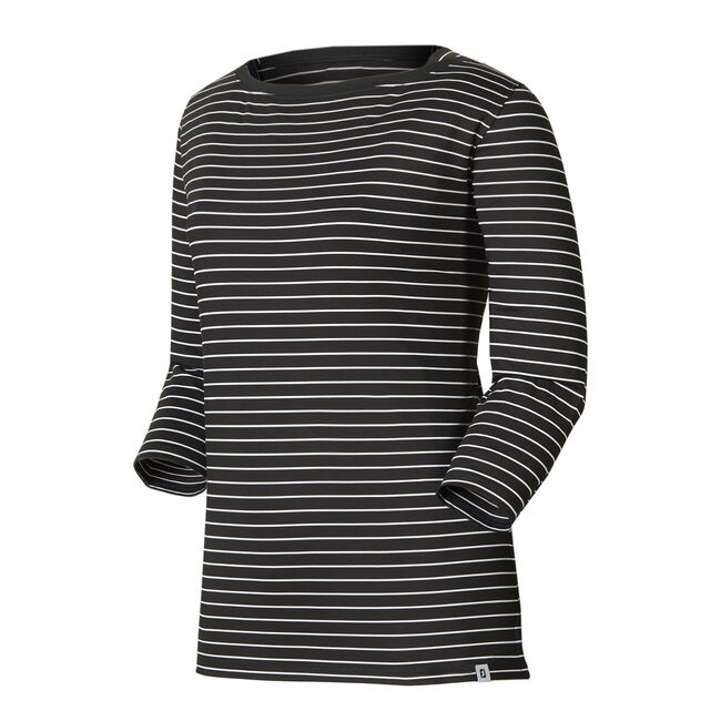 Stretch Lisle Stripe Boatneck Shirt Women-Previous Season Style