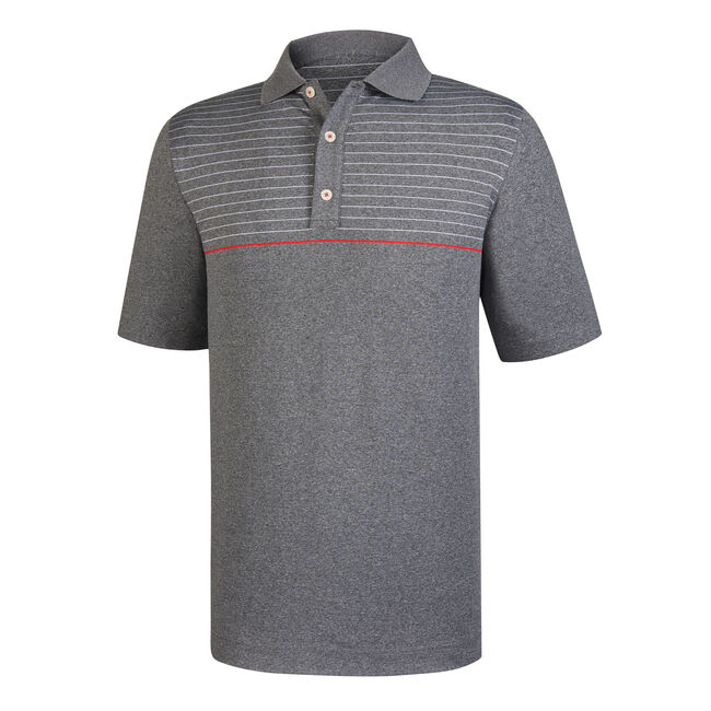 Athletic Fit Lisle Engineered Pinstripe  Knit Collar