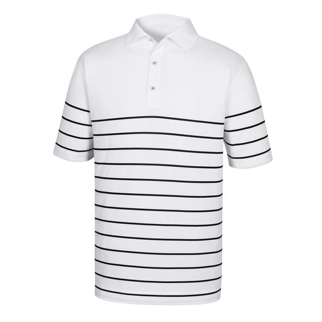 Stretch Pique Engineered Stripe Knit Collar