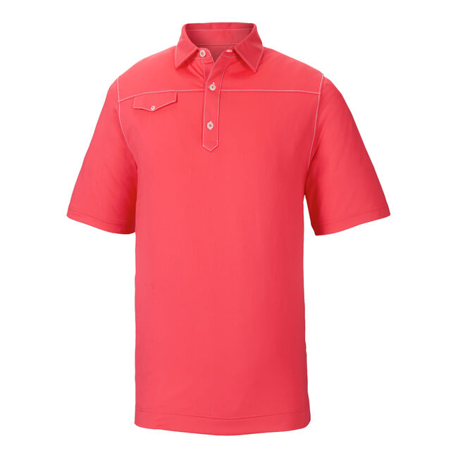 Athletic Fit Solid Lisle Contrast Stitch Self Collar