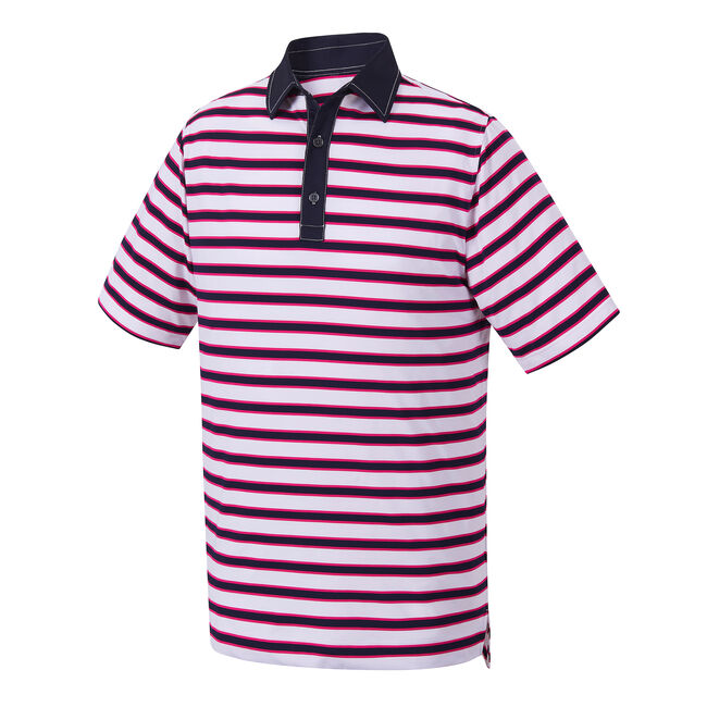 Athletic Fit Stretch Lisle Multi-Stripe Self Collar