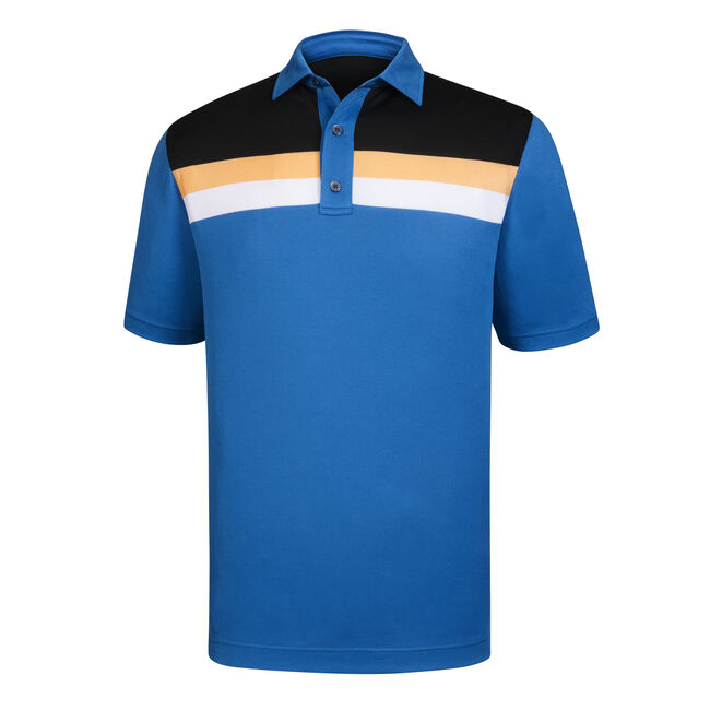 Athletic Fit Pique Color Block + Stripes Self Collar