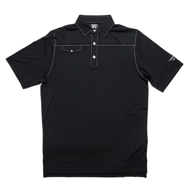 FJ Solid Lisle Faux Pocket Contrast Stitch w/ Self Collar - Athletic Fit - Black