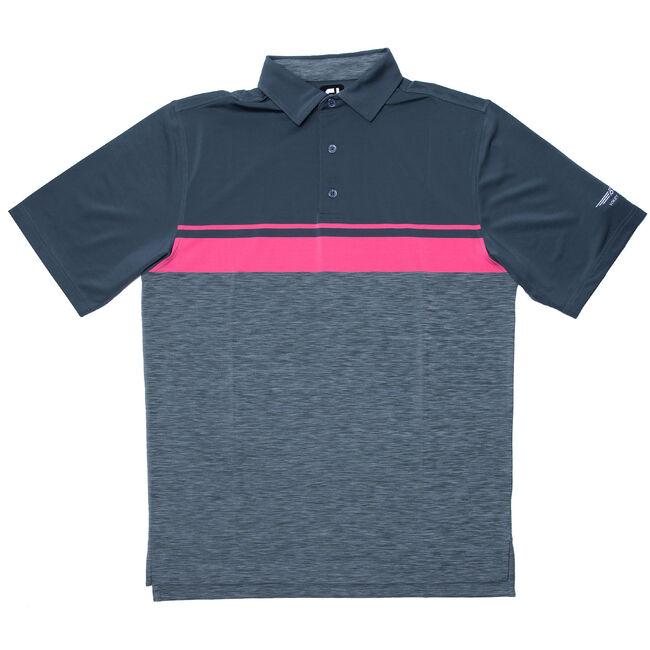FJ Lisle Color Block w/ Space Dye Collar - Charcoal + Pink Azalea