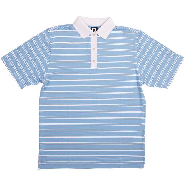 FJ Lisle Stripe Set On Placket - Brilliant Blue + White