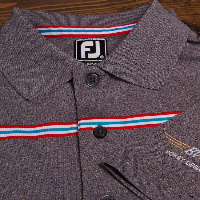 FJ ProDry Lisle Chest Stripe Athletic Fit - Heather Charcoal