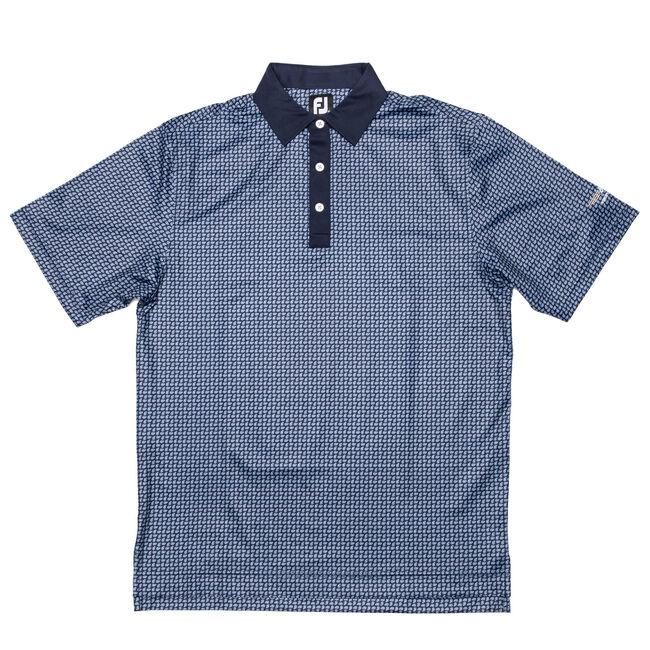 FJ Lisle Paisley Print w/ Self Collar - Navy + Light Blue/White