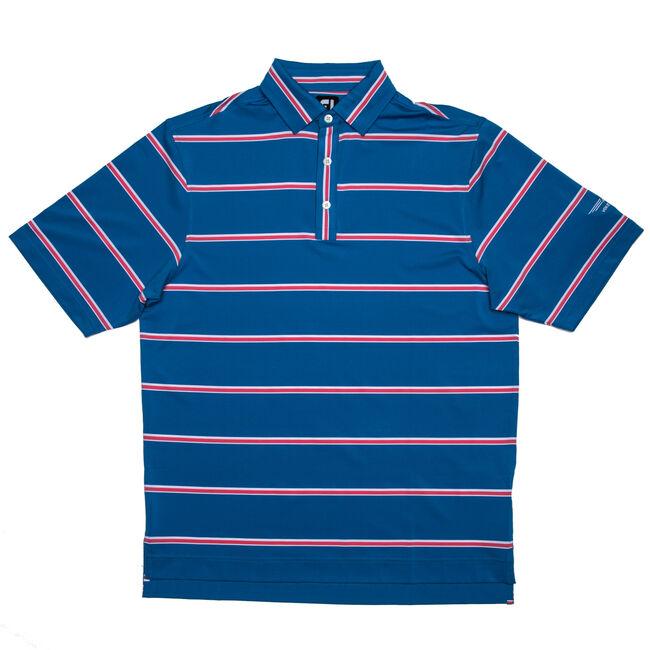 FJ Lisle Stripe w/ Self Collar - Sapphire Blue + Pink Azalea/White