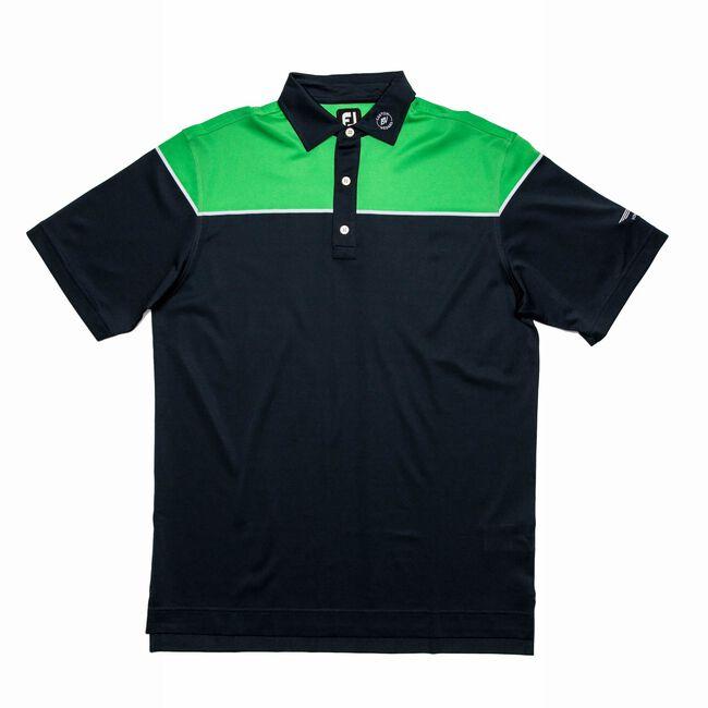 FJ Color Block Pique w/ Self Collar - Navy + White/Green