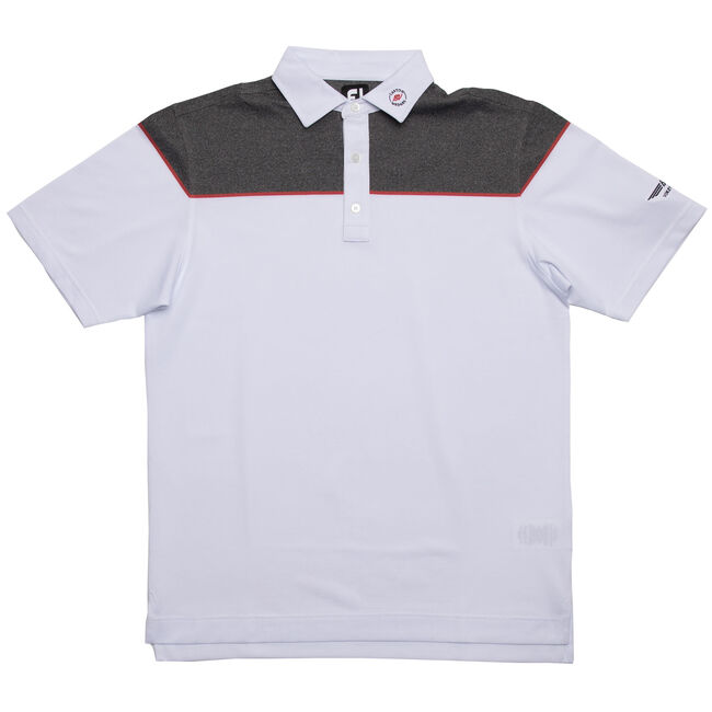FJ Color Block Stretch Pique w/ Self Collar - White + Red/Charcoal Heather
