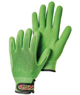 Knitted Velcro Bamboo Gloves Green, , large