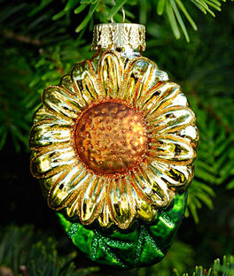 Sunflower Glass Ornament, , large