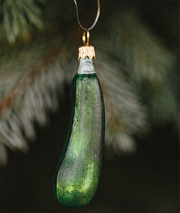 Green Zucchini Glass Ornament, , large