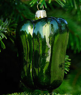 Green Pepper Glass Ornament , , large