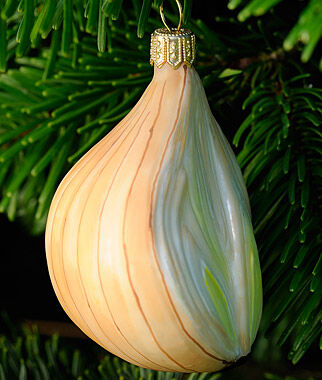 White Onion Glass Ornament, , large