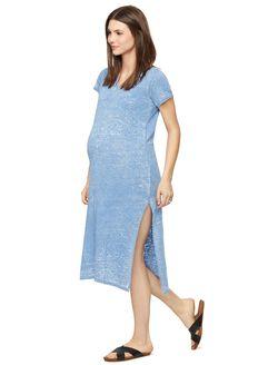 Monrow Side Slit Maternity Dress, Denim