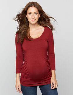 Scoop Neck Side Ruched Knit Maternity Tee, Wine