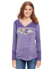 Baltimore Ravens NFL Long Sleeve Maternity Graphic Tee, Ravens Purple