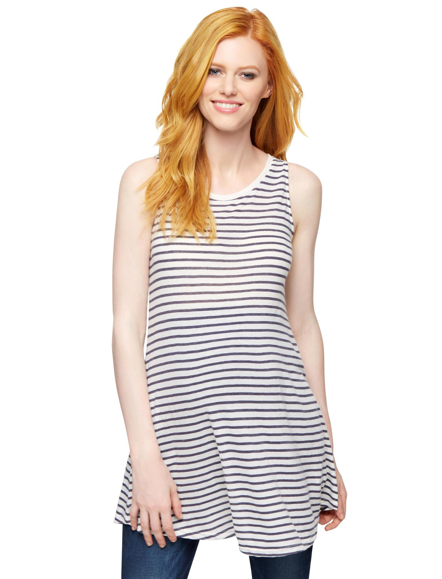 Striped Maternity Tunic- Navy/White