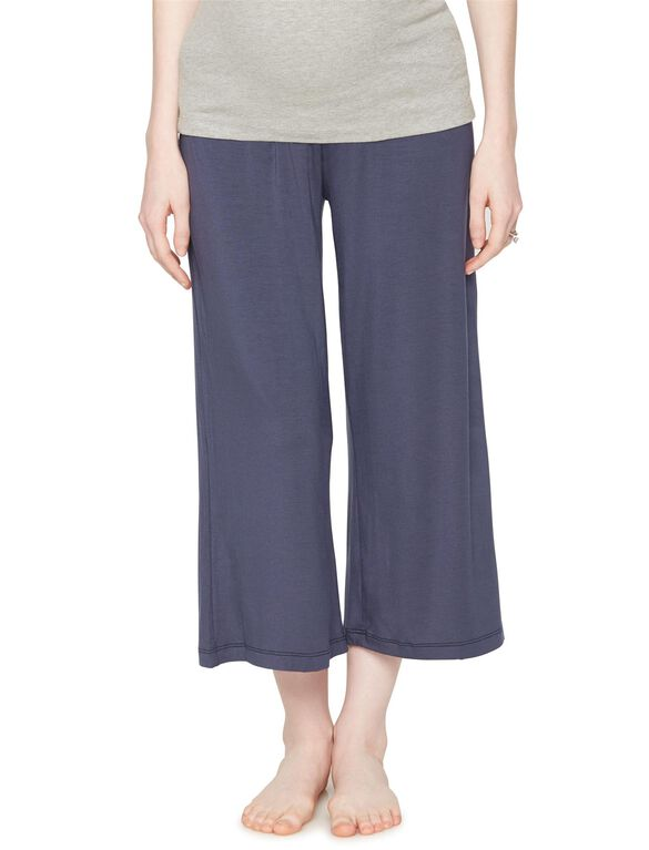 Under Belly Wide Leg Maternity Lounge Pants, Deep River Blue