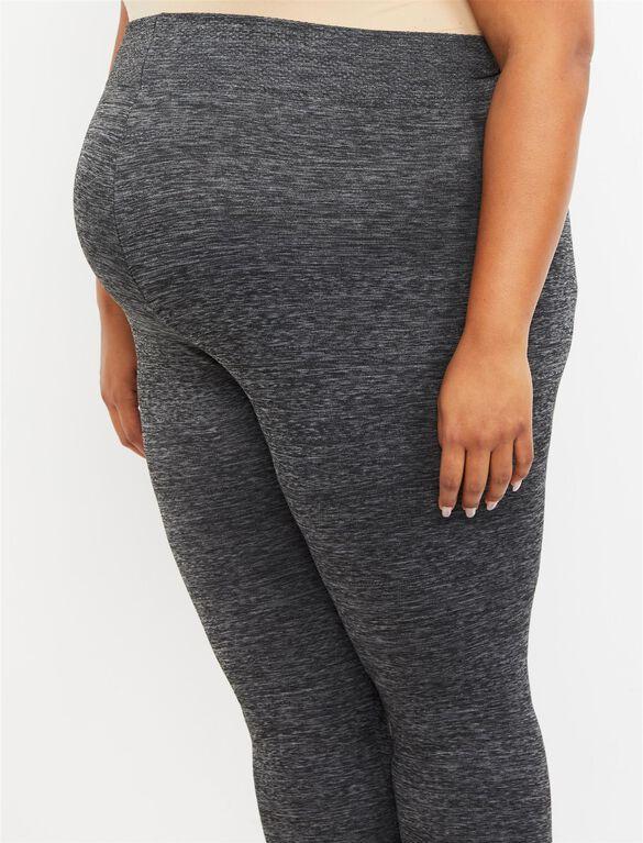 Plus Size Under Belly Fleece Maternity Leggings, Grey