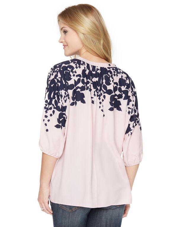 Floral Split Neck Maternity Blouse, Pink/Navy