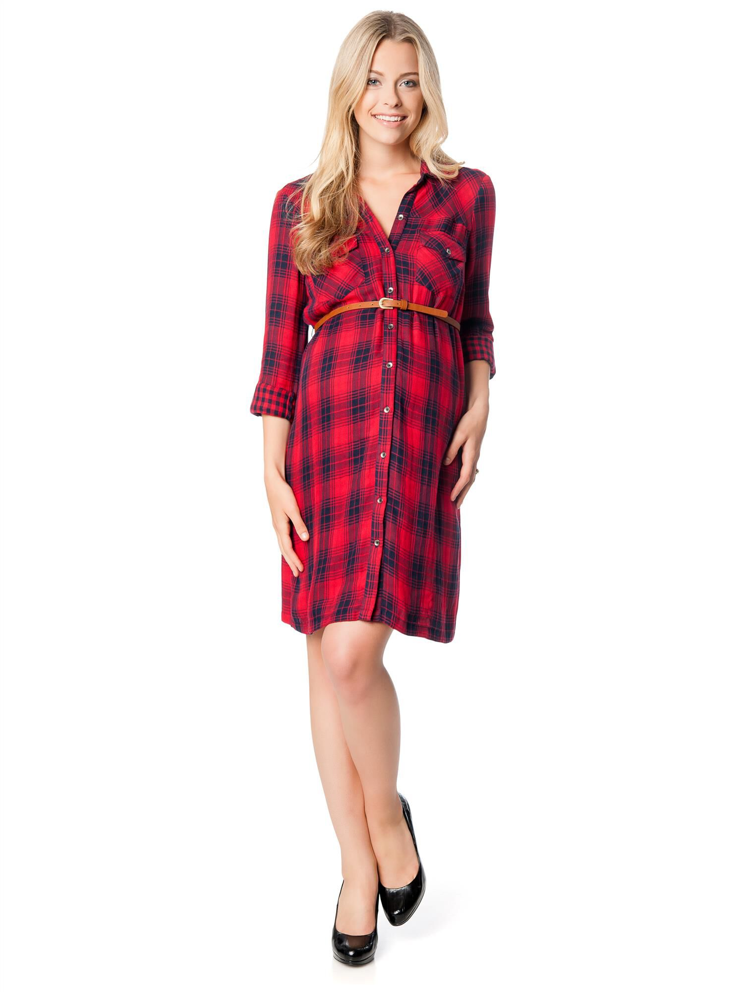 Classic Plaid Belted Maternity Shirt Dress- Red/Blue