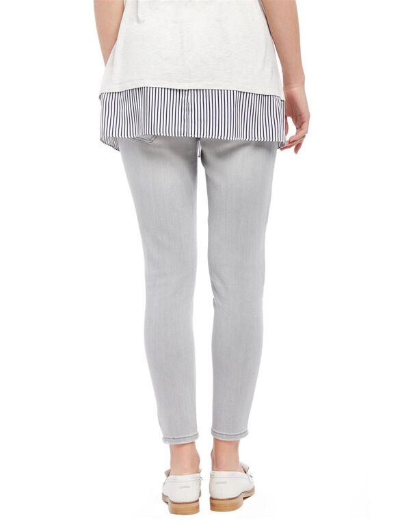 Secret Fit Belly Skinny Leg Maternity Crop Jeans, Misty Fog Grey