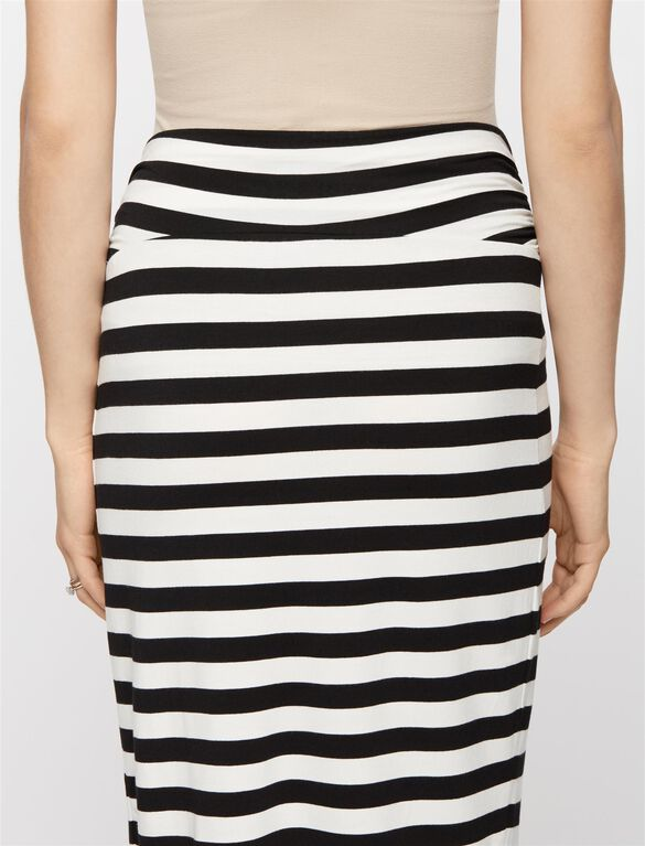 Self Belly Maternity Skirt, Black/White Stripe