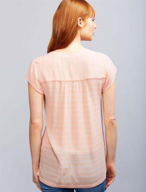 Lift Up Button Front Nursing Top, Peach Stripe