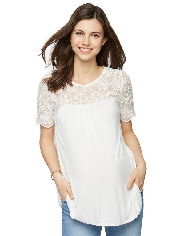 Lace Peplum Maternity Tee- White, Soft Whtie