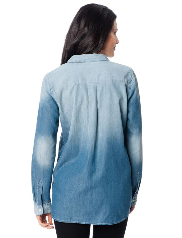 Button Front Maternity Shirt, Medium Wash Denim
