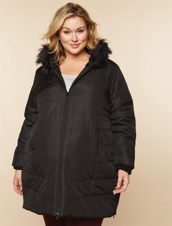 Plus Size Quilted Puffer Maternity Coat, Black