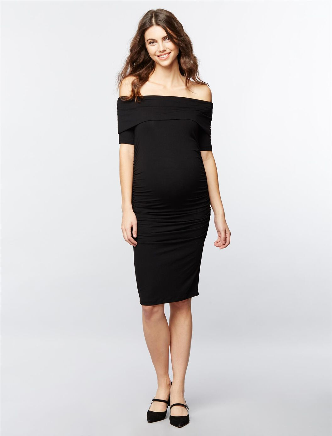 Isabella oliver ruched maternity dress a pea in the pod maternity isabella oliver ruched maternity dress black ombrellifo Gallery