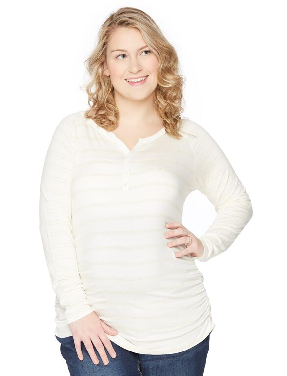 Plus Size Convertible Sleeve Maternity Top, Oat/Egret Stripe
