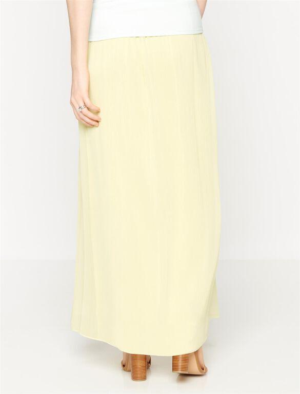 Secret Fit Belly Chiffon Maternity Maxi Skirt, Yellow