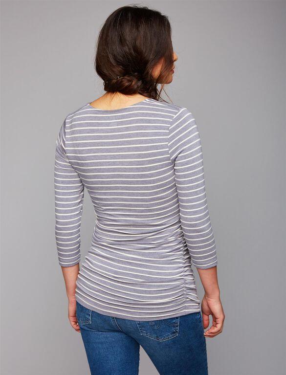 Maternity T Shirt, Heather Grey/White Stripe