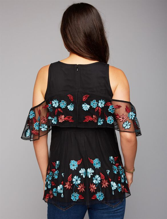 Embroidery Maternity Blouse, Black