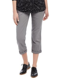 Secret Fit Belly Twill Skinny Leg Maternity Crop Pants, Grey