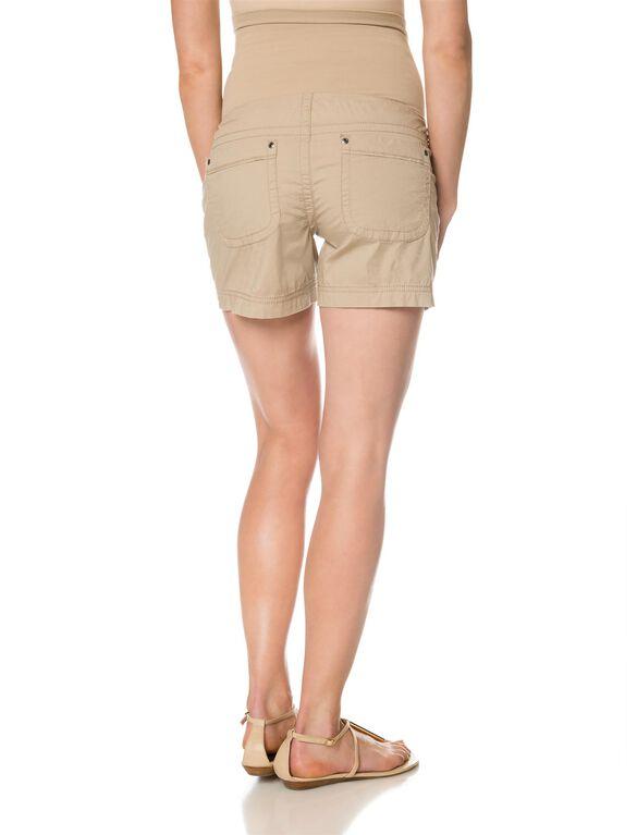 Secret Fit Belly Poplin Cargo Maternity Shorts, Khaki