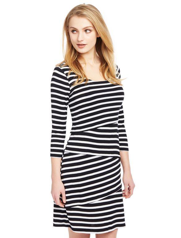 Lift Up Tiered Nursing Dress, Black/White Stripe