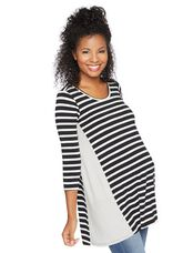 Peplum Maternity Top, Blk White Dot