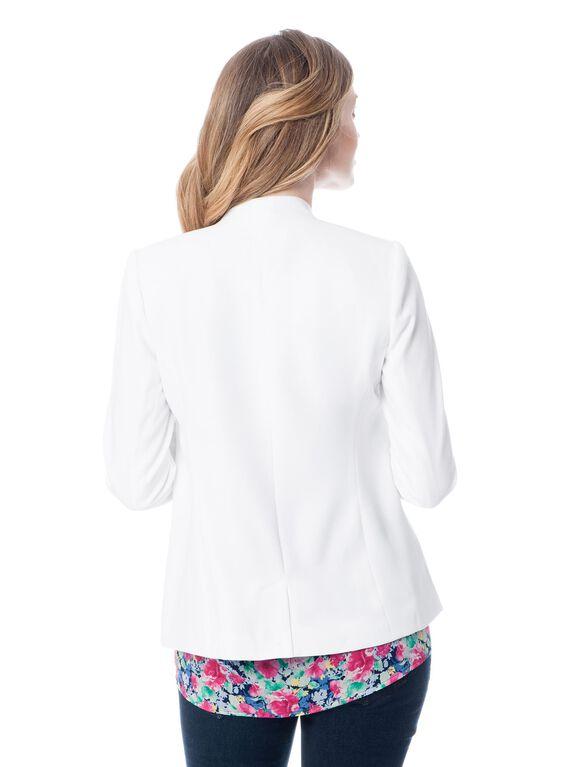 Fashionista Open Front Crepe Maternity Jacket, White