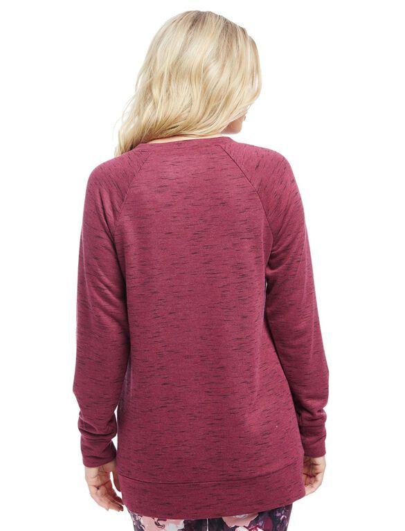 Raglan Sleeve Maternity Sweatshirt, Zinfandel Spacedye