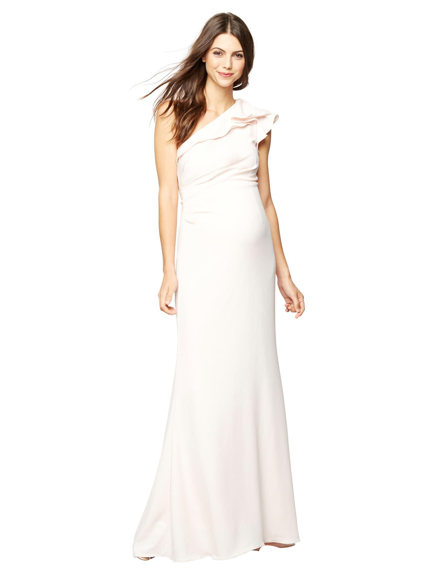 Carmen Marc Valvo Ruffled Maternity Gown
